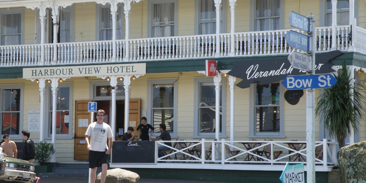 Harbour View Hotel. Raglan NZ. Photo taken by Stephanie Philp.