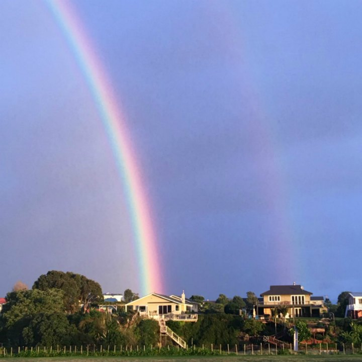 Double Rainbow. Raglan NZ. Photo taken by Stephanie Philp